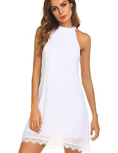(Kancystore Women's Halter Neck Sleeveless Lace Trim Loose Shift Mini Casual Dress (White, XL))