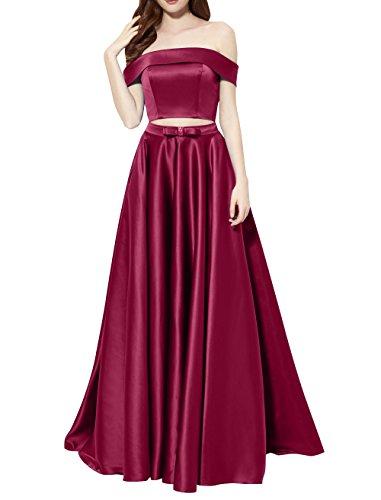 Lang Abendkleider Rot Teilig Dunkel Satin Kurzarm Abschlussballkleider Partykleider Zwei Linie La A Brau mia Brautmutterkleider AqvUYU