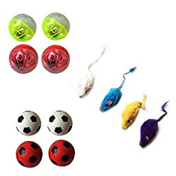 Iconic Pet Fur Mice Plastic Ball and Bouncing Ball Cat Toys, Set of 12