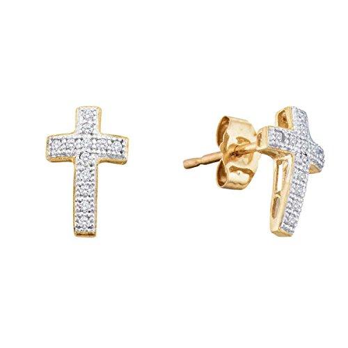 - 10kt Yellow Gold Womens Round Diamond Cross Stud Earrings 1/10 Cttw