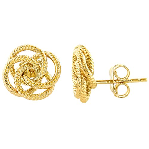 14K Yellow Gold Love Knot Rope Stud Eternity Earrings, 11mm