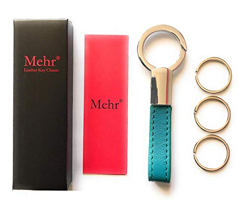 Mehr Classic Leather Key Chain | Elegant, Timeless, Multi-ring Keychain & Key Rings (Turquoise Blue)