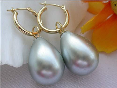 FidgetFidget Real Huge 14x16mm Gray South sea Shell Drop Pearls Dangle Earring 14K -