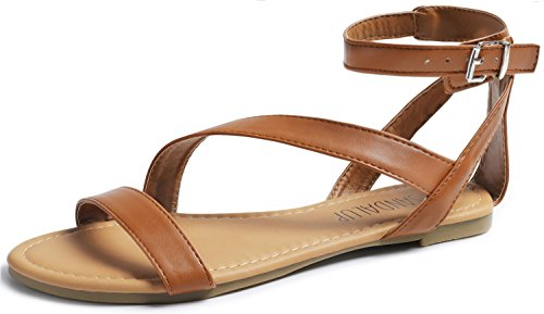 SANDALUP Flat Sandals with Oblique Band Ankle Strap for Women Brown 10