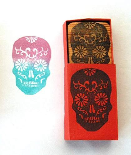 Sugar skull 2 - El Dia de los Muertos Hand carved rubber stamp ()