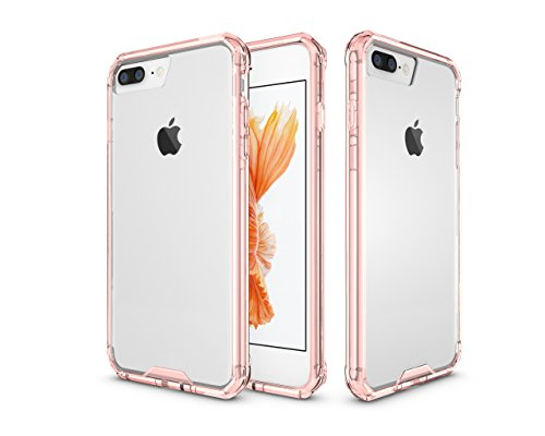 Price comparison product image iPhone 8 Plus Case / iPhone 7 Plus Case,  ARSUE Slim Crystal Clear Transparent Premium Hybrid Drop Protection Protective Cover for Apple iPhone 8 Plus (2017) / Apple iPhone 7 Plus (2016) - Rose Gold