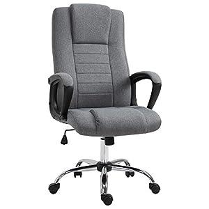 Fauteuil de bureau chaise pivotante réglable roulettes lin 62 x 62 x 110-119 cm gris foncé