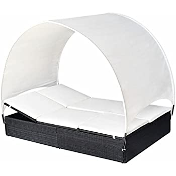 festnight outdoor patio wicker chaise lounge 2 person sun lounger with canopy poly. Black Bedroom Furniture Sets. Home Design Ideas