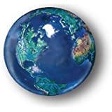 Blue Earth Marble With Natural Earth Continents, Recycled Glass, 5 In A Pouch, 1 Inch Diameter