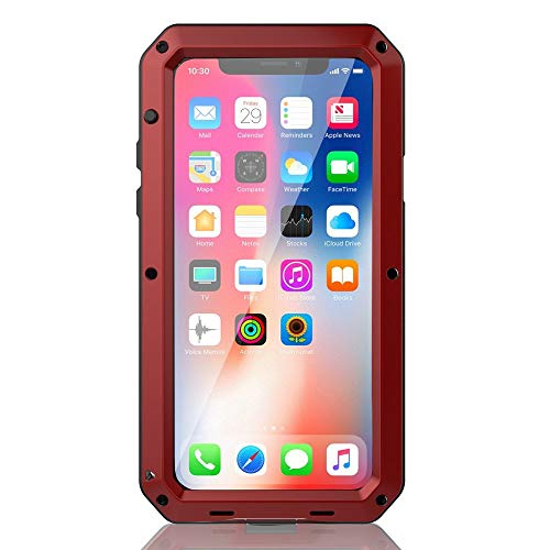 iPhone Xs Max Case, CarterLily Full Body Shockproof Dustproof Waterproof Aluminum Alloy Metal Gorilla Glass Cover Case for Apple iPhone Xs Max 6.5 inch (Red)