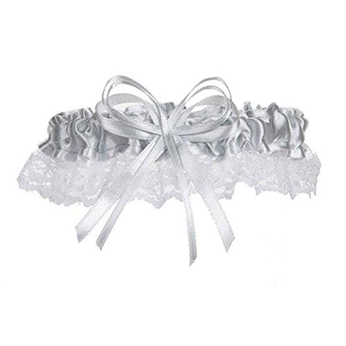 1 Beautiful Silver Satin and Lace Wedding Garters Garter Bride Prom Homecoming (1 Garter)]()