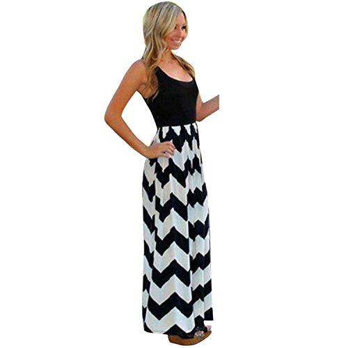 ZOMUSA Clearance Women's Plus Size Striped Long Boho Beach Summer Maxi Sundress (S, Black)