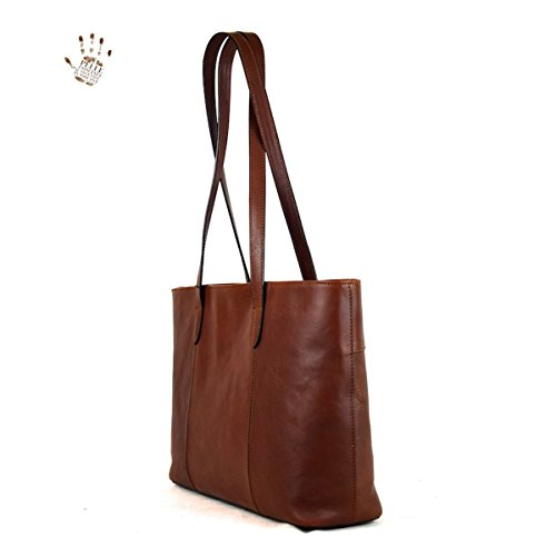 Shopper Italy With Prestige Genuine Made Interior Leather Leather In Line Compartment Bag Brown Tuscan Color IwZ445xYAq