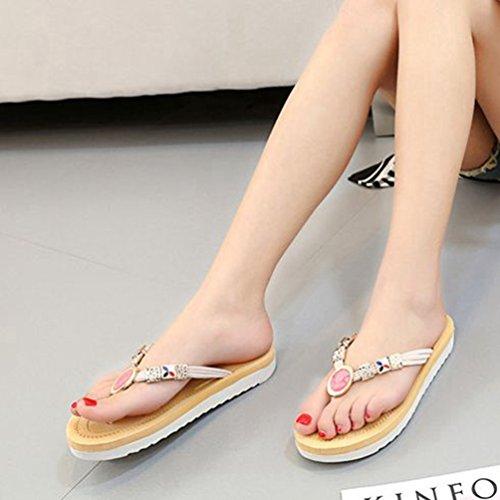 Plate Thong Femmes JRenok Forme Beige blanc étincelant Summer Confort Plates pour Métallique Mode Bascule avec Beach Sandales à x0n08pqZX