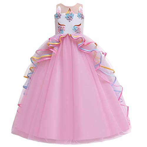 MYRISAM Girl's Unicorn Princess Rainbow Long Tulle Dress Wedding Birthday Carnival Party Performance Dance Pageant Ball Gowns Pink 14-15T]()