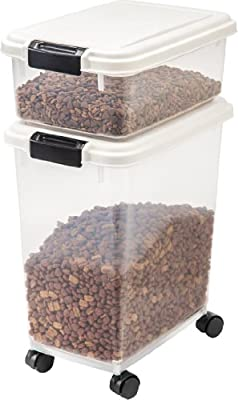 3- Piece Airtight Pet Food Storage Container Combo, White