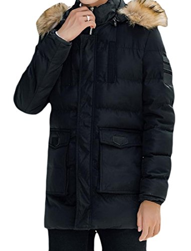 Mid Zipper Thickened Hoodie Black Howme Collar Warm Overcoat Men Long Fur HYn0wtXO