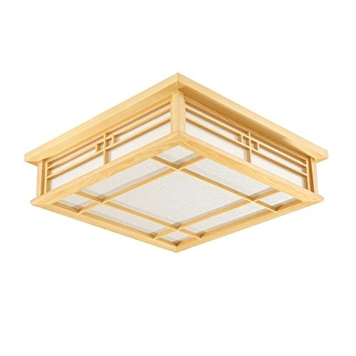 GQLB Luz de techo japonés madera maciza lámparas LED Lámparas de luz de tatami japonés Salón Dormitorio Balcón registros coreano luz 350*350*100mm, ...