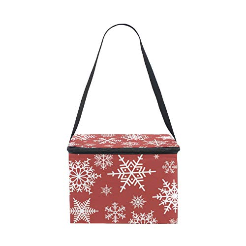 Lunch Background Snowflakes On Cooler Bag Strap Shoulder Hite for Lunchbox Red Christmas Picnic ggUTwqS