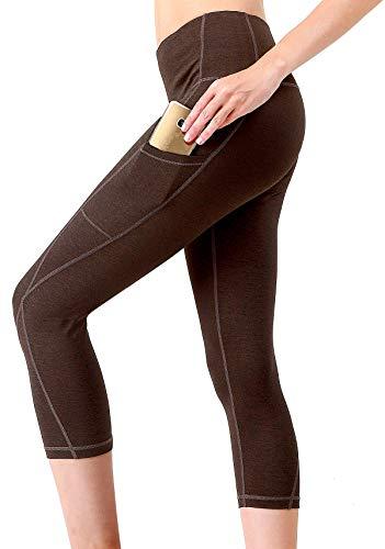 f14ef08603eb8 MYoga Women's High Waist Yoga Pants Workout Running Capri Leggings Active  Athletic Leggings with Side Pockets