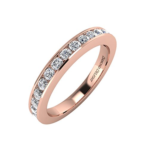 [IGI Certified 14K Rose Gold Wedding/anniversary Diamond Band Ring (1/2 Carat)] (Certified Diamond Band Ring)