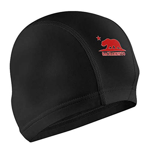 Lodve Hvst Sacramento California Bear Swim Caps Fit Men Women Waterproof Swimming Cap Long Hair Short Hair