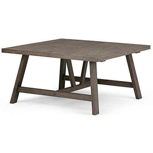 Set Solid Pine Coffee Table (Simpli Home Dylan Solid Wood Square Coffee Table, Driftwood)