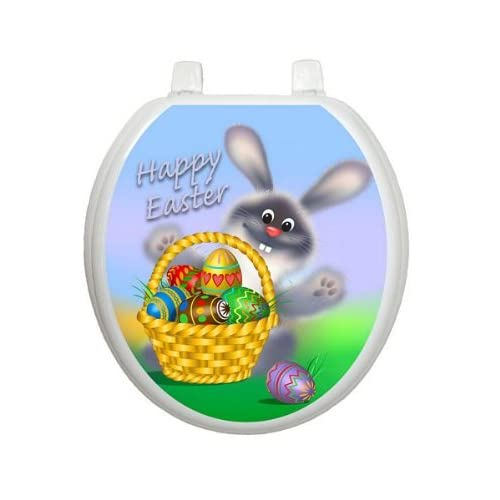 Easter Bunny Toilet Tattoo TT-E101-R Round Bunny Rabbit 60%OFF
