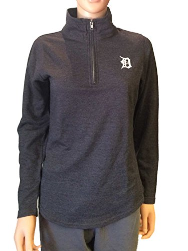 Detroit Tigers Pullover Jacket - Detroit Tigers SAAG Women Gray 1/4 Zip Pullover Lightweight Jacket (M)
