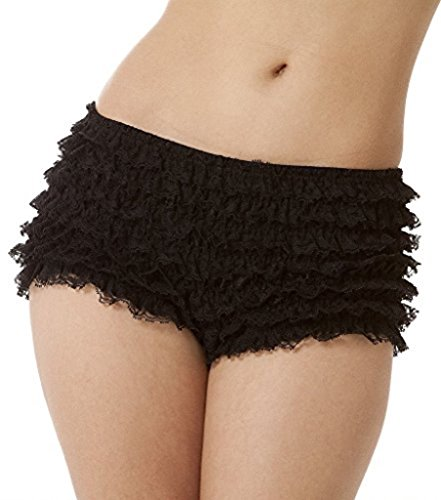 BellaSous Womens Sexy Ruffle Panties Tanga Dance Bloomers Sissy Booty Shorts (Black, -