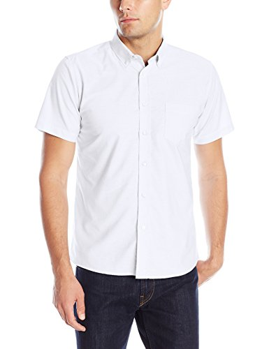 IZOD Uniform Young Men's Short Sleeve Oxford Shirt, White, X-Large