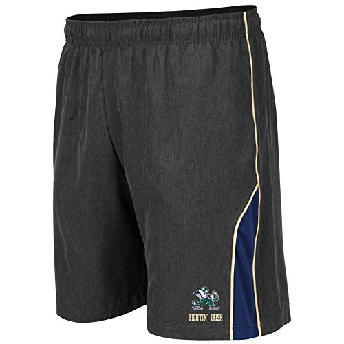 Colosseum NCAA Mens Basketball Shorts - Athletic Running Workout Short-Charcoal with Team Colors-Notre Dame Fighting Irish-XL ()