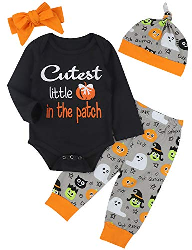 4Pcs Halloween Outfit Set Baby Boy Girl Funny Romper Cutest Little Pumpkin in The Patch(0-3Months) -
