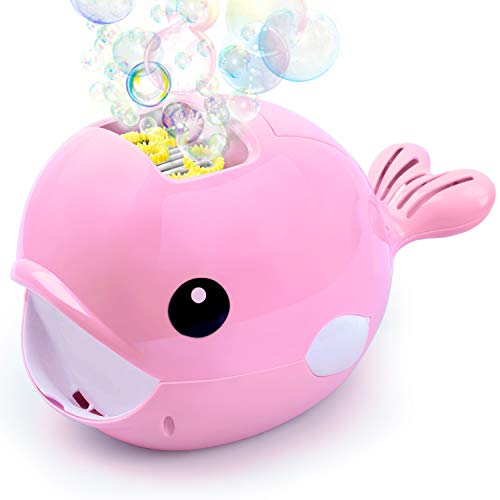 Forliver Bubble Machine, Automatic Bubble Maker Blower, Over 500 Bubbles per Minute Bubble Machines Toy for Kids Toddlers Bath Parties Wedding (Pink) -