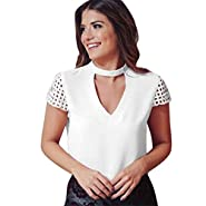 RAINED-Women's Cold Shoulder Blouse Tops Hollow Out Casual Tunic Shirts Casual Chiffon Blouse Top Lace Splice Shirt