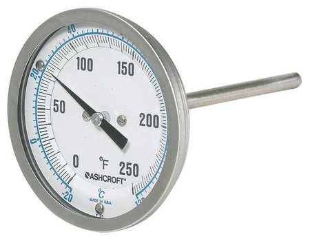 Dial Thermometer, Bi-Metallic, 0-250 deg F by ASHCROFT (Image #1)