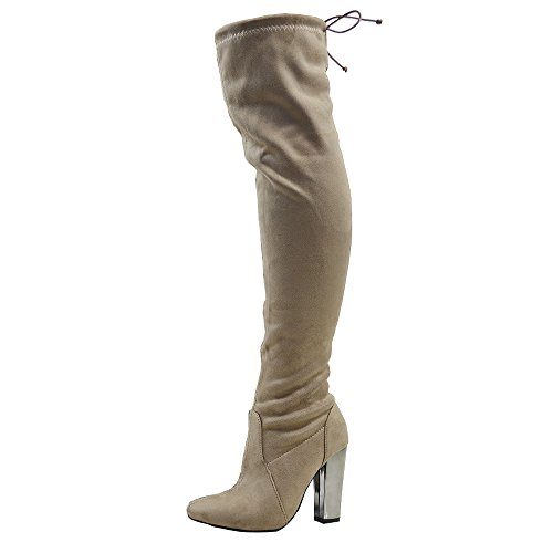 Womens Heel Over Suede Lace Long The Leg High GLAM Boots Faux Ladies Taupe Thigh ESSEX Knee Chrome Stretch 5wYWqERTBx