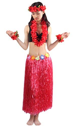 Good Quality 5pcs/ set Women's Hawaiian Luau 80cm red grass hula (Hawaiian Costumes Women)