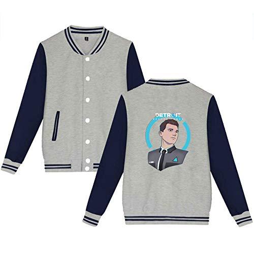 Gogofuture Grey04 Human Femmes Fashion Décontractée shirts De Baseball Manteaux Hommes Detroit Become Sweat Imprimées Confortable Unisexe Veste rwUqaRr