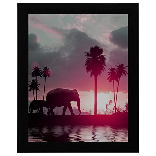 WUwuWU 12x16 Inch Black Solid Wood Picture Frame Hang Wall Decor Palm Tree Elephants Family Sunset Dictionary Newspaper Vintage Simple Bedroom Wall Decor Kids Wall Paintings Home Decor (1882 Dictionary)