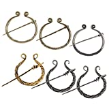 XQL 6 Pcs Vintage Viking Brooches Pins, Medieval Cloak Pin Clasp Clothes Fasteners Metal Sweater Clip Jewelry