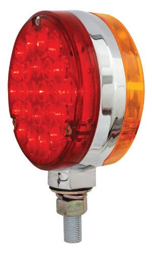 Grand General 78360 Amber/Red 4' Round Double Faced Pearl 24-LED Pedestal Light with Chrome Die Cast Housing