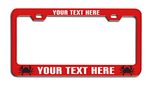 - CRABS Red White Personalized Custom License Plate Frame, License Tag Holder