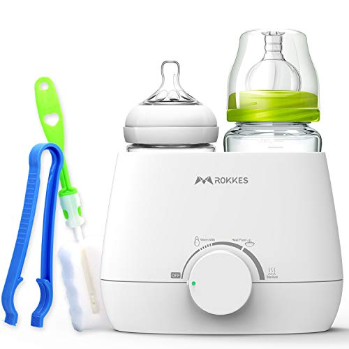 Baby Bottle Warmer & Sterilizer, Breastmilk - Food - Milk - Formula -Water Warmers, ROKKES Fast Electric Dual Multi Bottles Heater & Steam Sterilizer for Kids, 3 in 1 with Bottle Brush & Clip Set