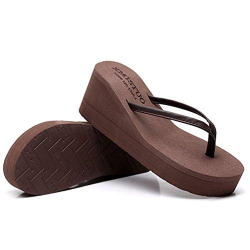 Antidérapantes de Plates Femmes Ouvertes Compensées Marron Tongs Plage Talons Sandales Sandale Mode Yz1Saa