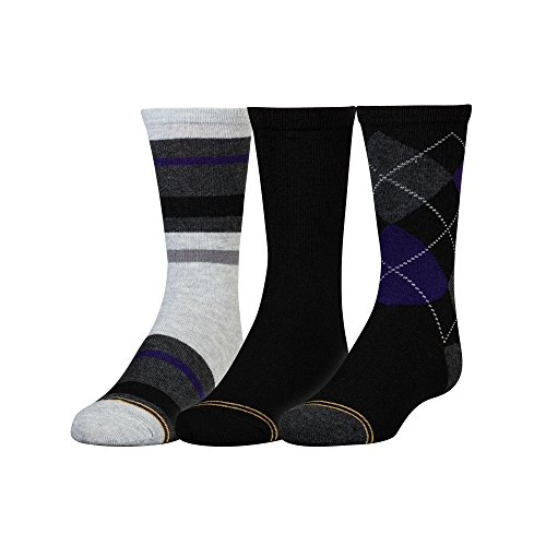 - Gold Toe Big Boys' 3 Pack Fashion Dress Crew, Black Purple Argyle/Black/Stripe Grey/Heather Purple, Large