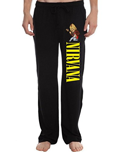 XINGJX Men's Nirvana Kurt Cobain Running Workout Sweatpants Pants L Black
