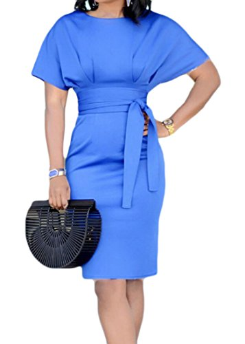 Domple Mini Usura A Vestito Al Solido Colore Di Blu Pipistrello Luce Bodycon Matita Legame Manica Womens Lavoro d851qd
