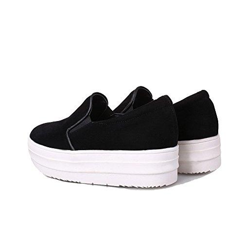 Chaussures À Femme Légeres Noir Tire Unie Cuir Talon Agoolar Correct Couleur Pu 41gq5zzwTW