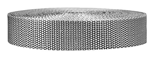 Strapworks Heavyweight Polypropylene Webbing - Heavy Duty Poly Strapping for Outdoor DIY Gear Repair, 1 Inch x 25 Yards - Silver Gray (Diy Shade Structures Outdoor)